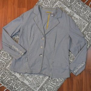 Chico's Striped Buttoned Jacket